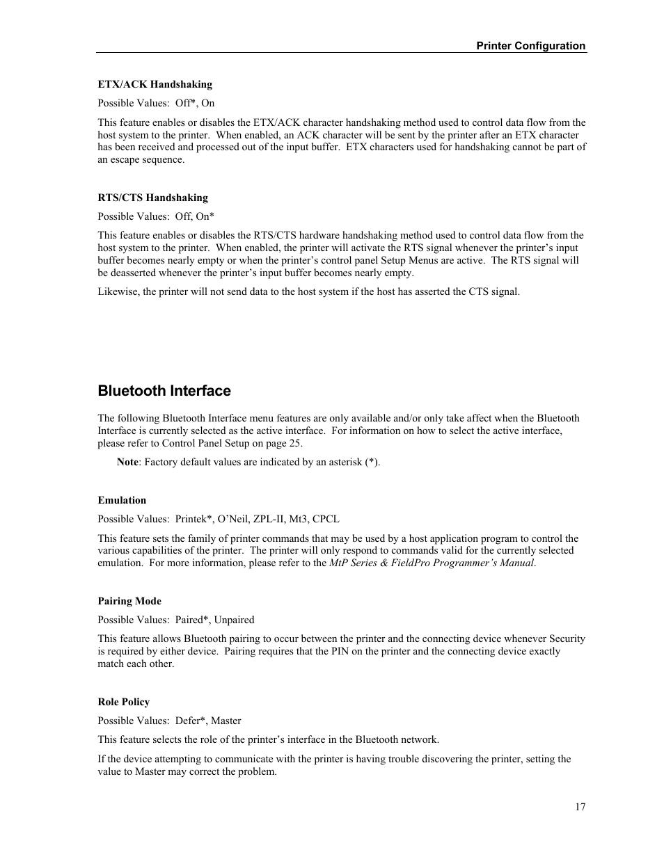 Bluetooth interface | Printek FieldPro RT43 User Manual