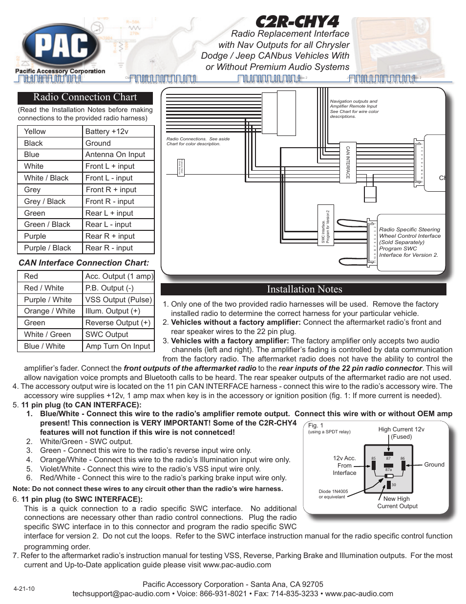 pac c2r chy4 page1 pac c2r chy4 user manual 2 pages Sony Car Radio Wiring Harness at n-0.co