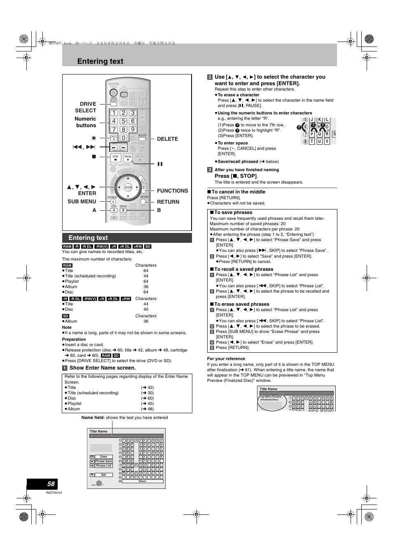 convenient functions entering text l 58 panasonic dmr es46v rh manualsdir com dmr-es46v manual dmr-es46v manual