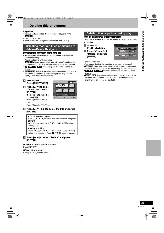 L 86), reproducción de un videocasete | panasonic dmr-es46v user.