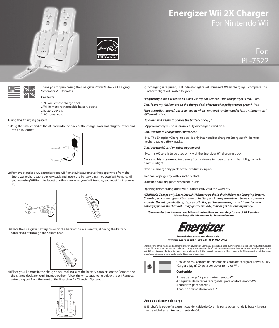 energizer pl 7522 user manual 5 pages rh manualsdir com Ridiculous Wii Instruction Manual Wii Remote Instruction Guide