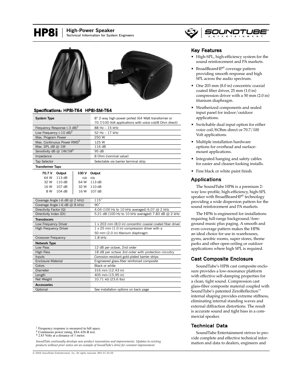 Phase Technology High-Power Speaker HP8i User Manual | 4 pages