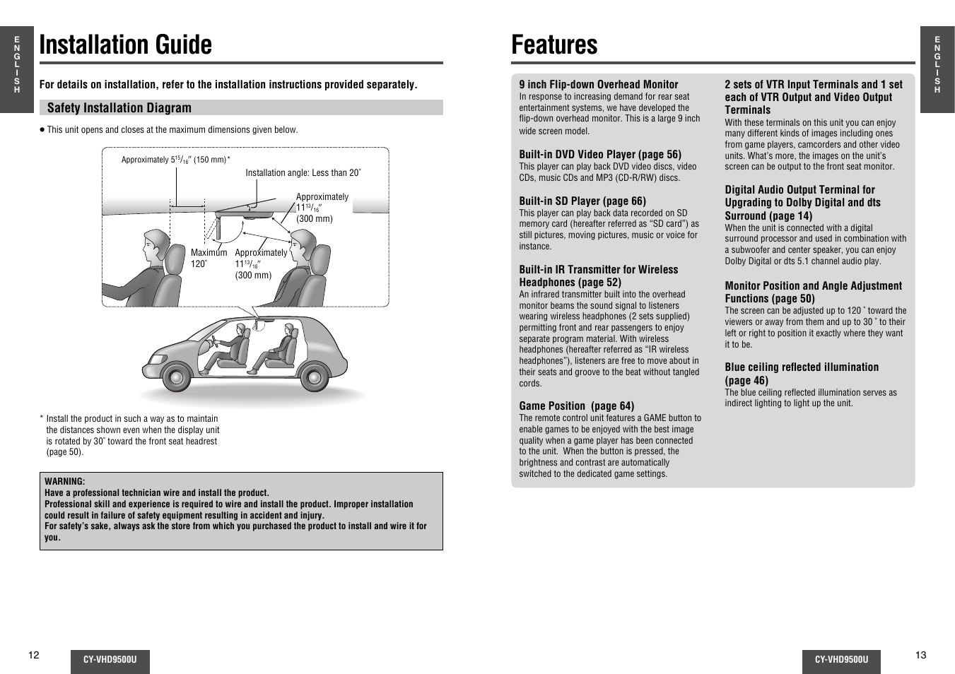 Installation guide, Features | Panasonic CY-VHD9500U User Manual | Page 7 /  38