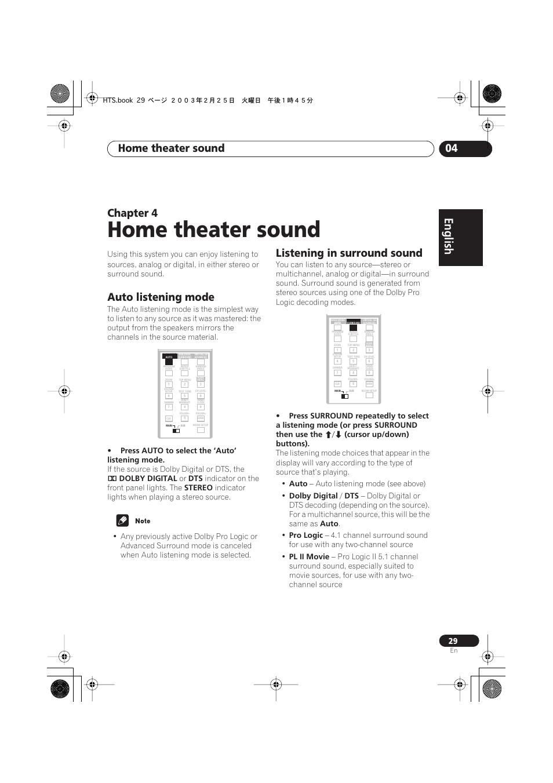 Auto listening mode, Listening in surround sound, Home theater sound |  English italiano français