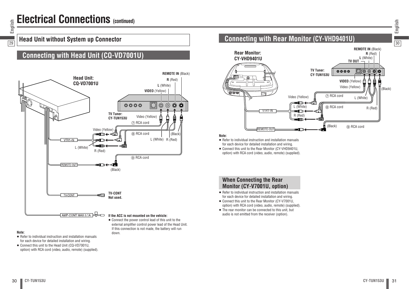 Electrical Connections Connecting With Head Unit Cq Vd7001u