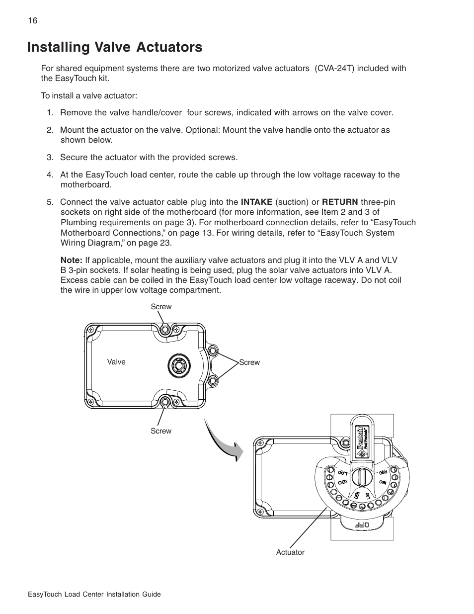 Wiring Diagram For Pentair Actuator Wf24 Jandy Installing Valve Actuators Easytouch 8 And 4 Pool Spa 1