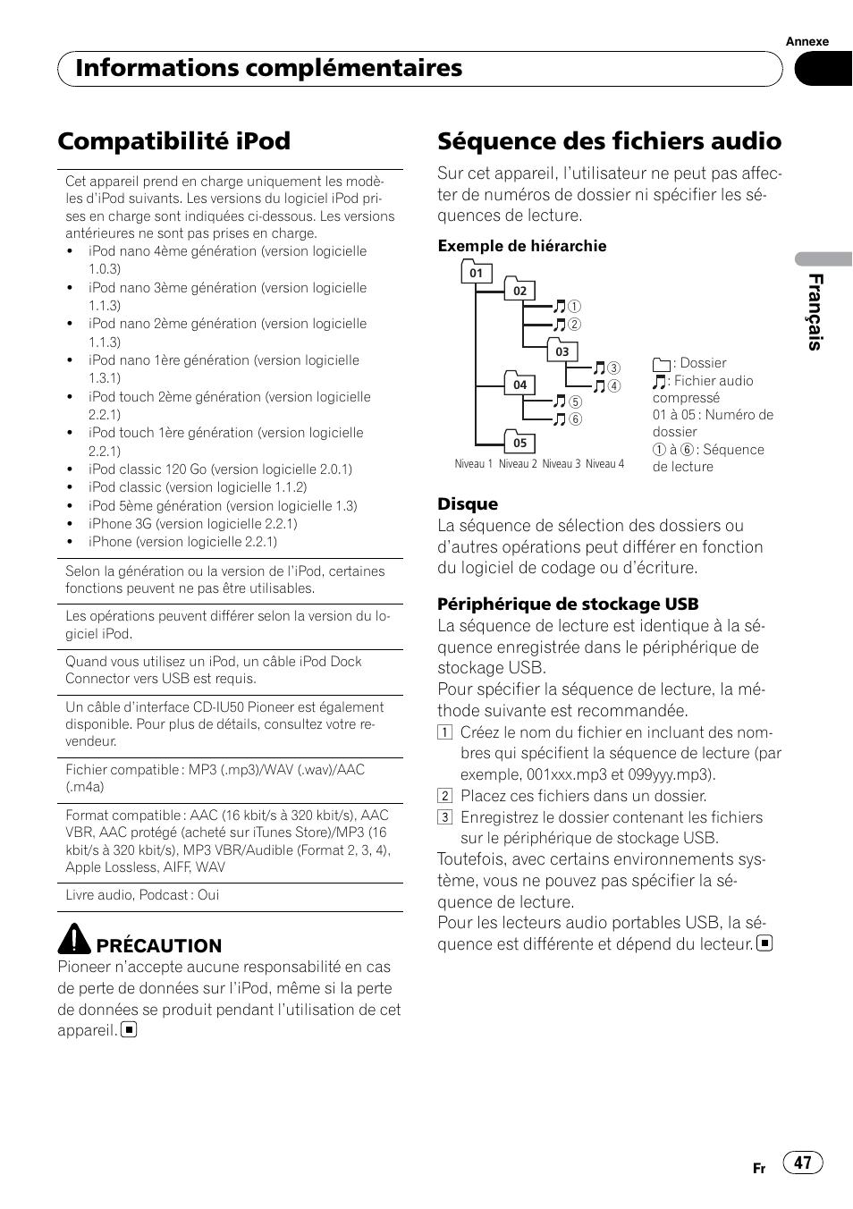 Compatibilité ipod, Séquence des fichiers audio