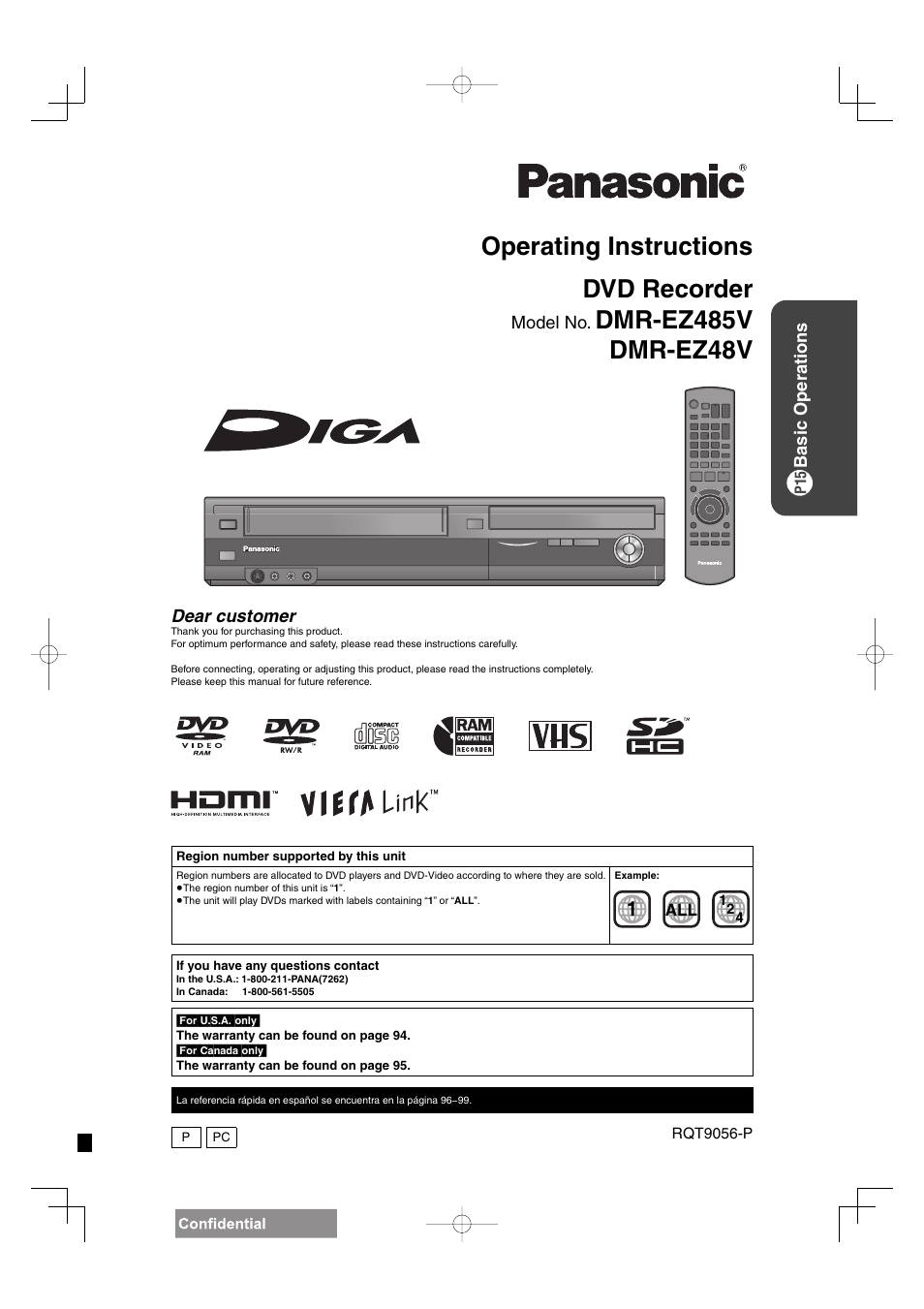 panasonic diga dmr ez48v user manual 100 pages also for dmr ez485v rh manualsdir com panasonic dmr-ez48v manual dmr-ez48v manual download