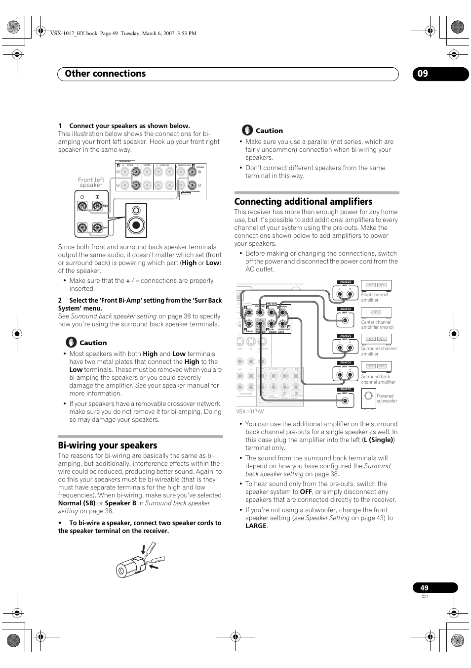 Other Connections 09 Bi Wiring Your Speakers Connecting Additional Home For Amplifiers Pioneer Vsx 1017av K User Manual Page 49 72
