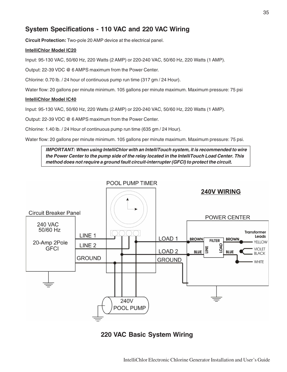 220 Vac Basic System Wiring