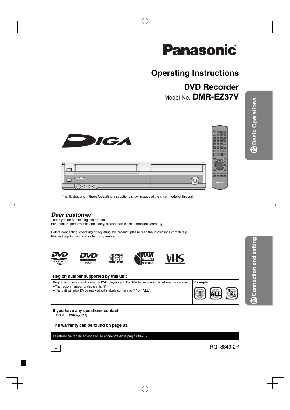 panasonic dmr ez37v user manual 88 pages rh manualsdir com panasonic dmr-ez37v manual panasonic dmr ez47v manual pdf