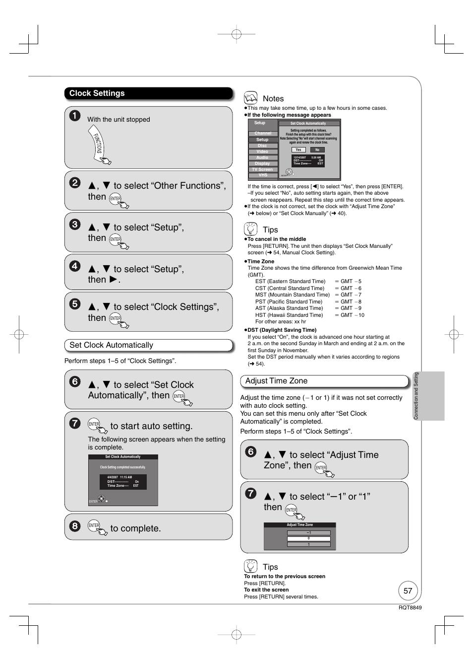 set clock automatically clock settings tips panasonic dmr ez37v rh manualsdir com panasonic dmr ez47v manual pdf Panasonic VHS Recorder with Tuner