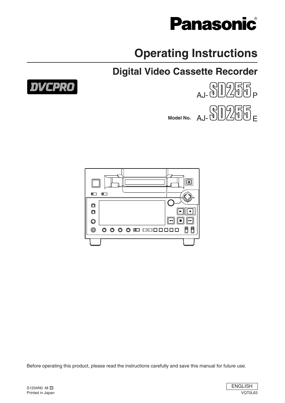 panasonic aj sd255 user manual 46 pages rh manualsdir com panasonic sd 255 user manual Panasonic Cordless Phones