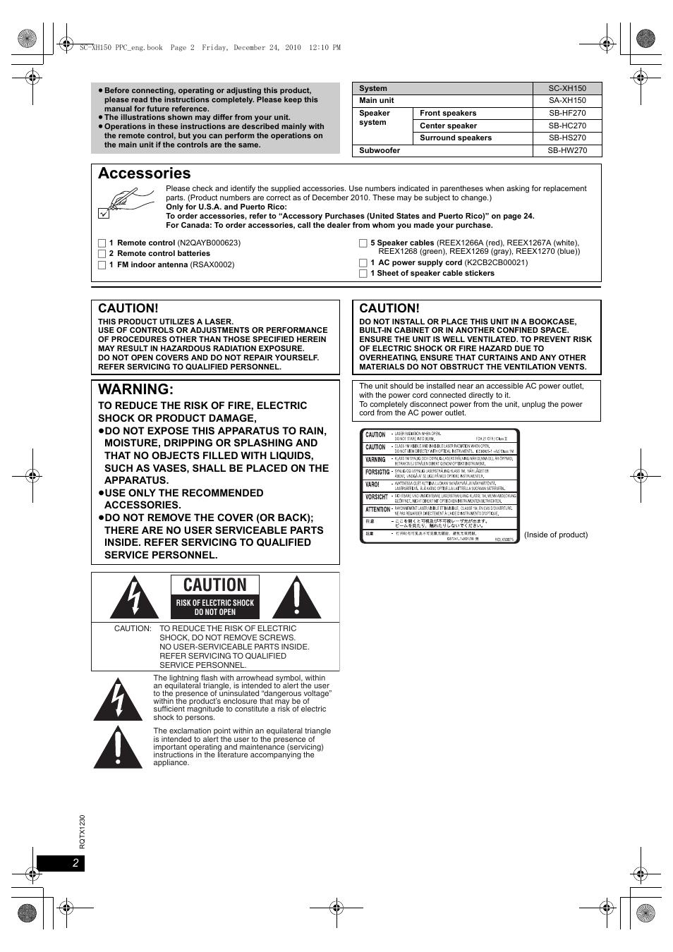 accessories warning caution panasonic sc xh150 user manual rh manualsdir com Panasonic Manual Ra 6800 Panasonic Cordless Phones