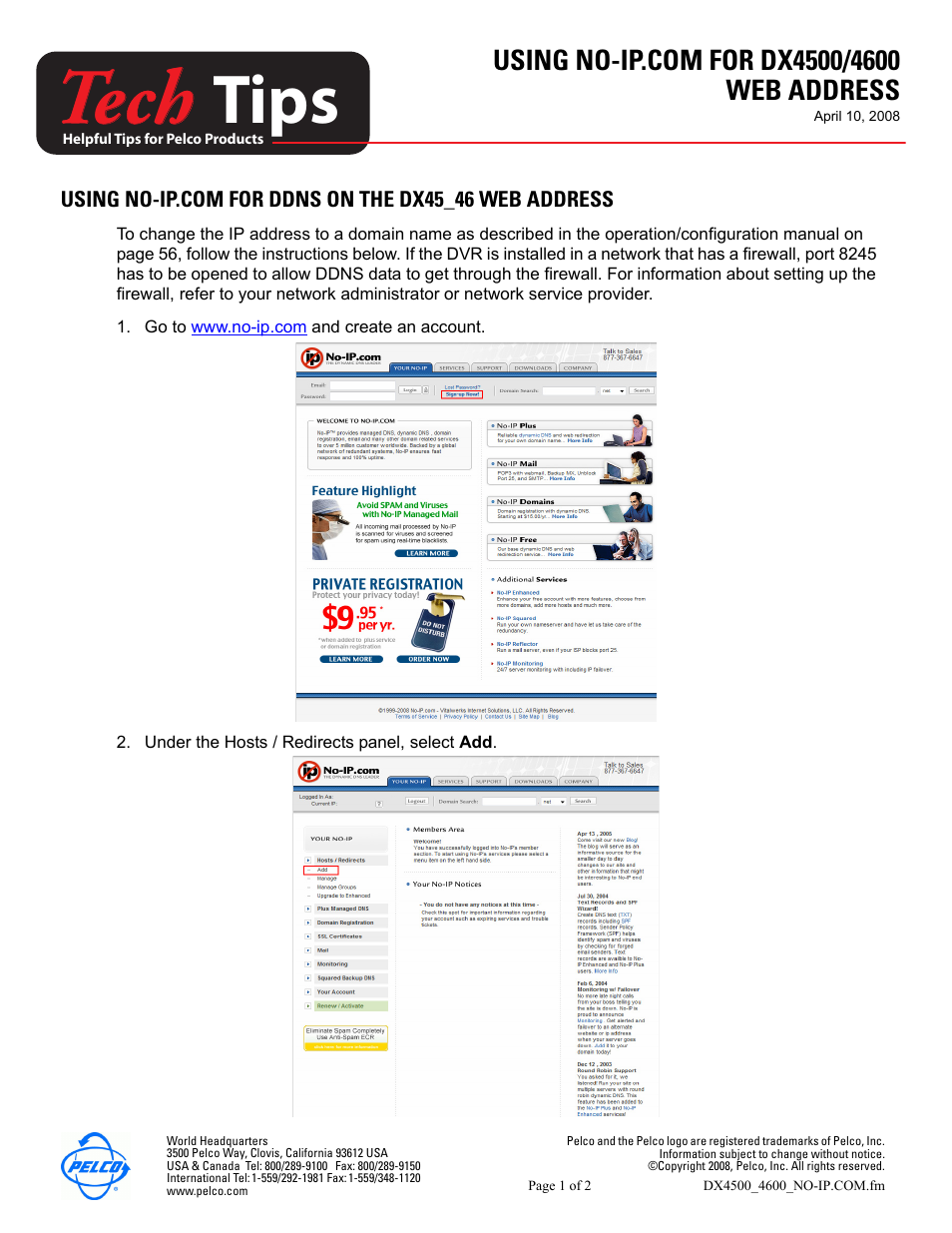 pelco tech tips dx4500 4600 user manual 2 pages rh manualsdir com