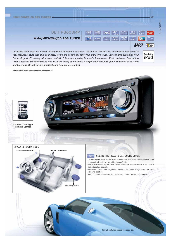 deh p8600mp wma mp3 wav cd rds tuner pioneer car cd mp3 player rh manualsdir com Pioneer Deh X8500bh Pioneer Deh X8500bh