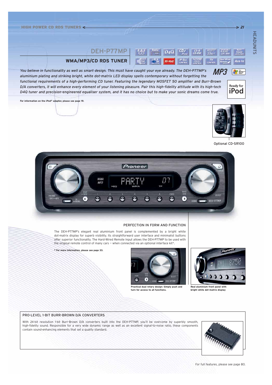 Deh-p77mp, Wma/mp3/cd rds tuner   Pioneer Car CD MP3