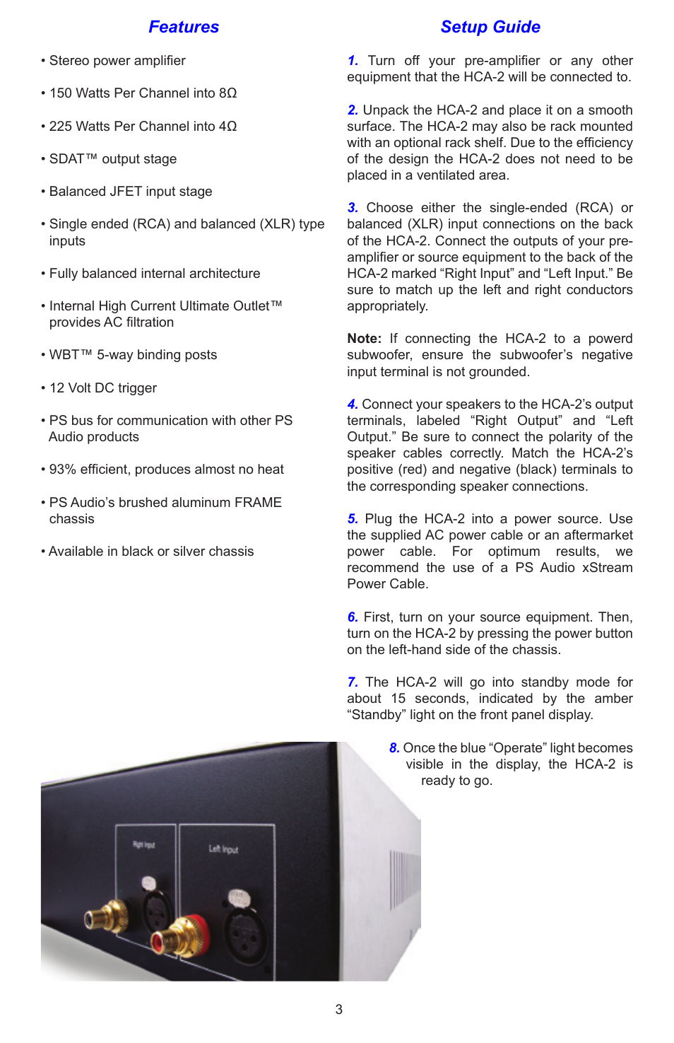 features setup guide ps audio hca 2 user manual page 3 8 rh manualsdir com ps audio sprout owners manual ps audio p300 service manual