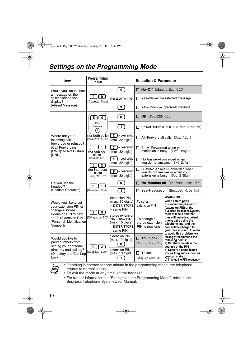 Settings on the programming mode | Panasonic KX-T7630 User Manual | Page 10  /