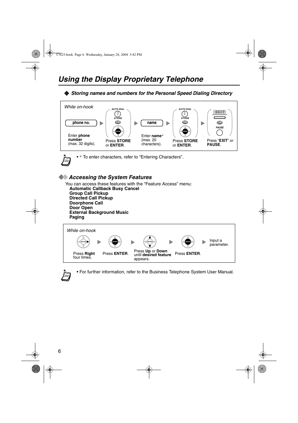 Accessing the system features, Using the display proprietary telephone | Panasonic  KX-T7630 User Manual | Page 6 / 16