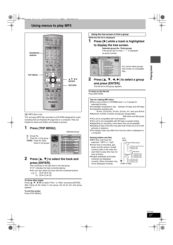 using menus to play mp3 press top menu pla y ing ba c k rh manualsdir com Panasonic DMR- EZ48V panasonic dmr-e95h service manual