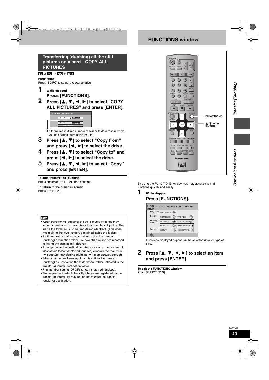 convenient functions functions window press functions panasonic rh manualsdir com Panasonic DMR EZ48V Recorder panasonic dmr-e95h service manual