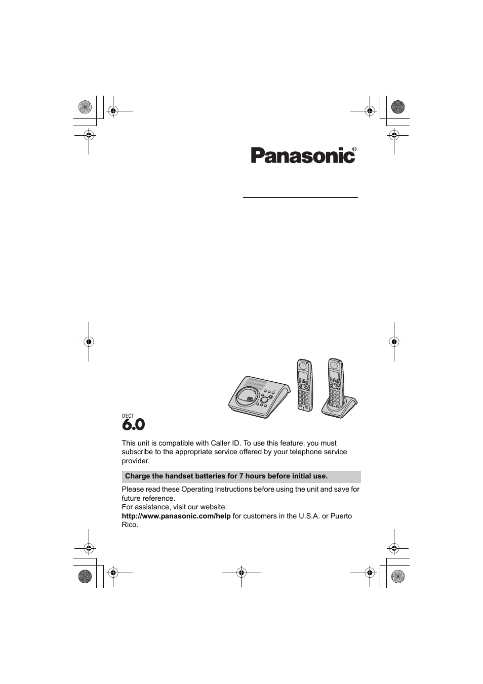 Panasonic KX-TG1034 User Manual | 52 pages | Also for: KX