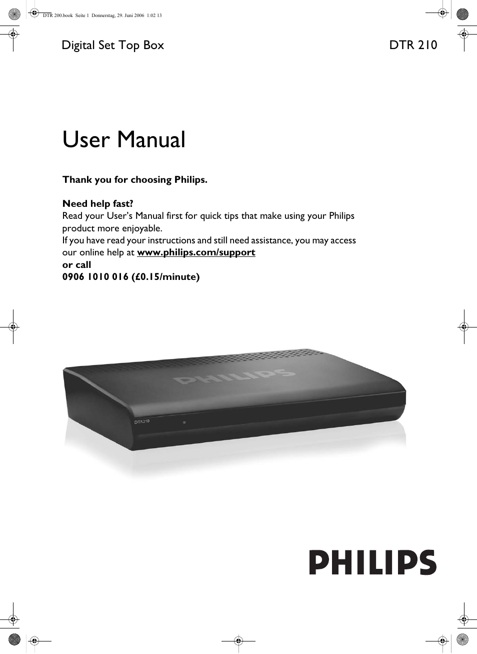 philips dtr210 user manual 20 pages rh manualsdir com Philips Flat TV Manual Philips DVD Player Manual