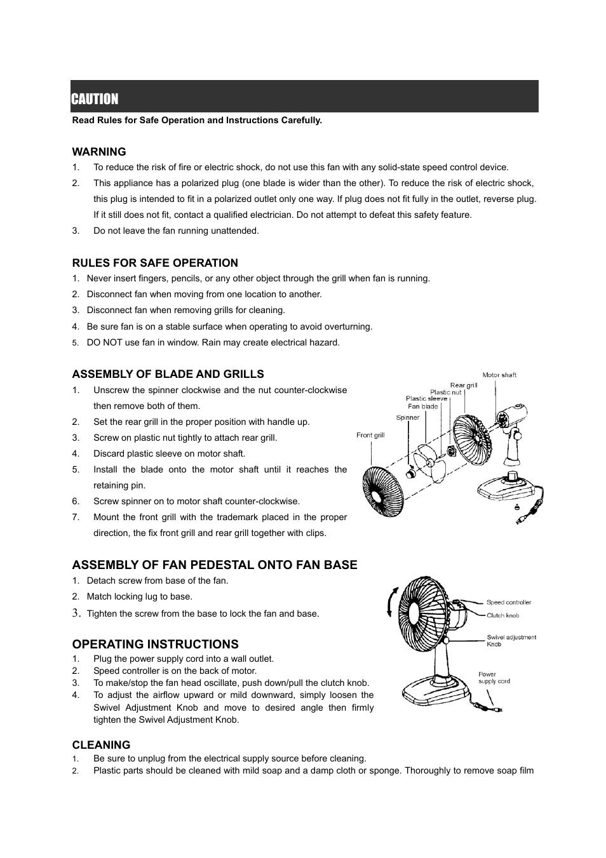 Industrial Pedistal Fan Repair Manual Guide