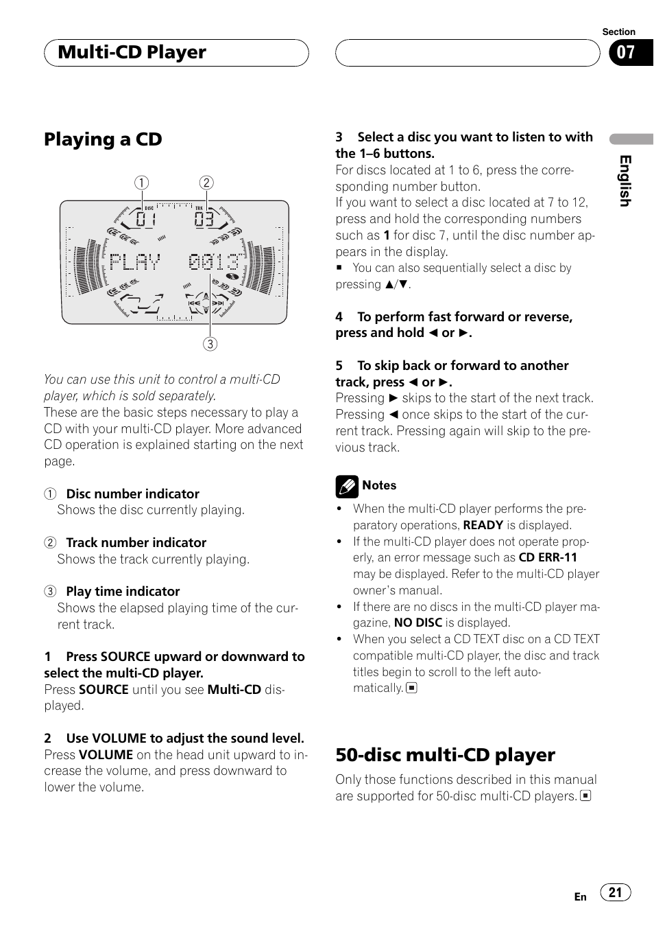 playing a cd disc multi cd player multi cd player pioneer fh rh manualsdir com Instruction Manual Book Operators Manual
