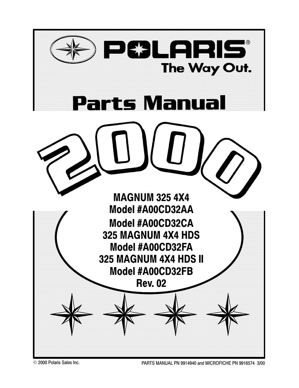 Polaris MAGNUM 325 4X4 A00CD32AA User Manual | 59 pages | Also for: 325  MAGNUM 4X4 HDS II A00CD32FB, 325 MAGNUM 4X4 HDS A00CD32FA