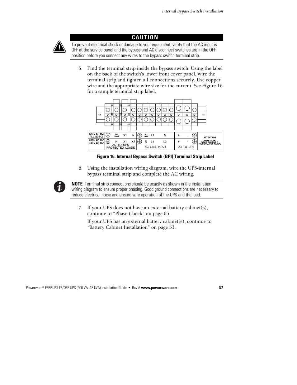 Powerware Ferrups Fe Qfe 500va User Manual Page 53 76 Ups Bypass Switch Wiring Diagram