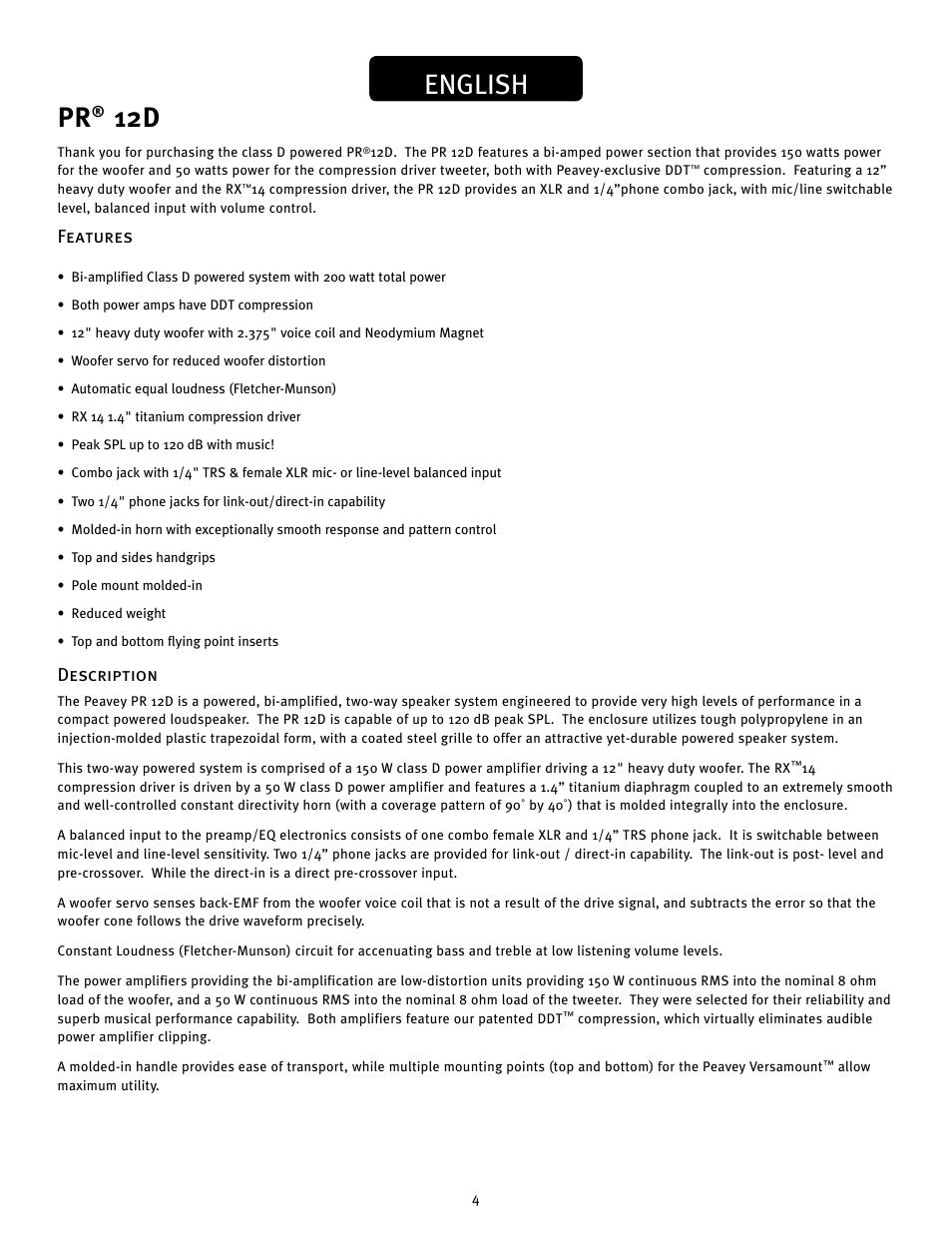 English   Peavey PR 12 D User Manual   Page 4 / 16
