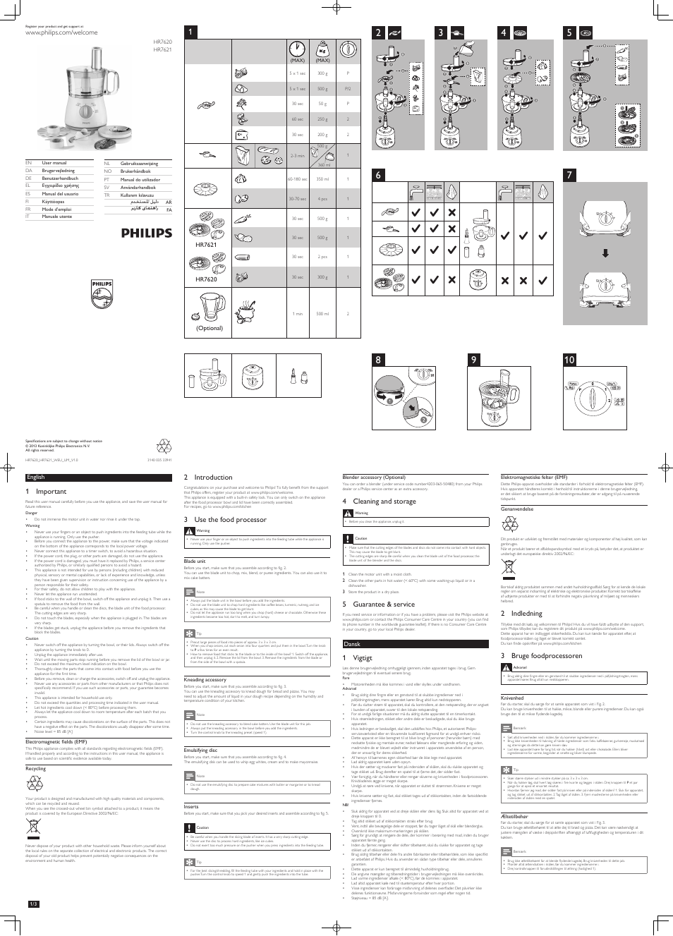 Philips HR7620 User Manual | 6 pages | Also for: Daily Collection Robot de cuisine, Daily Collection Küchenmaschine