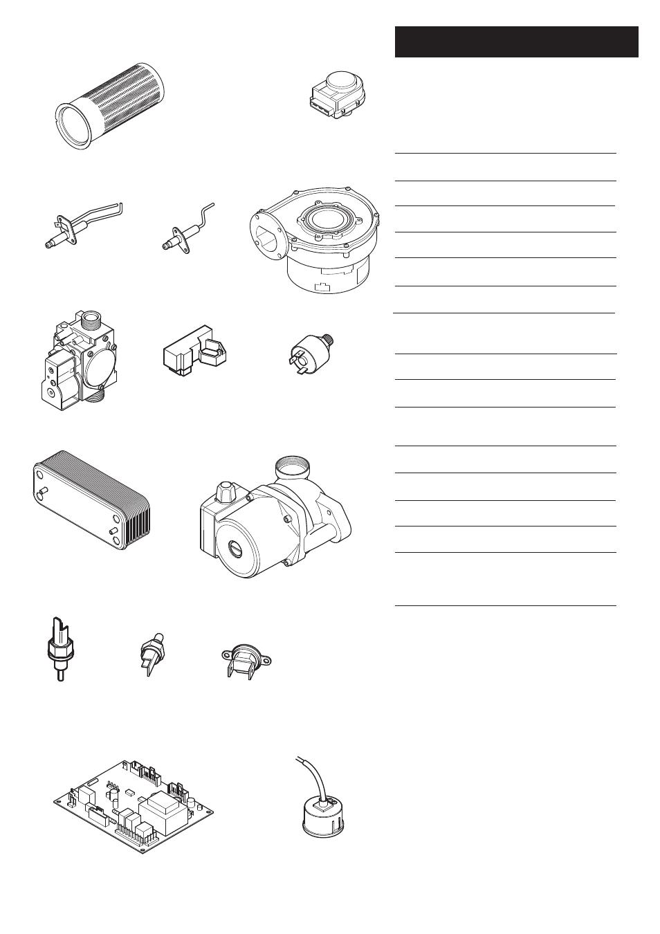 0 short parts list | Baxi Potterton Heatmax Combi HE Condensing ...
