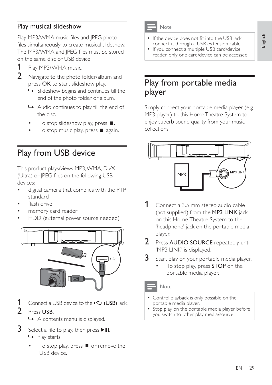 Play From Portable Media Player Usb Device Philips To Audio Jack Wiring Soundbar Hts6120 User Manual Page 29 48