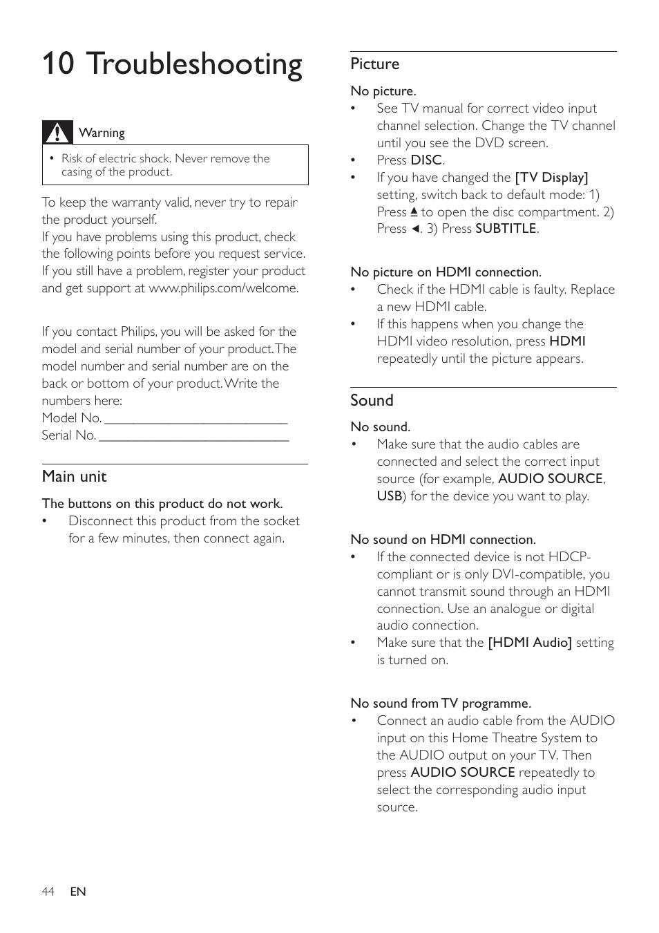 10 troubleshooting   Philips SoundBar HTS6120 User Manual