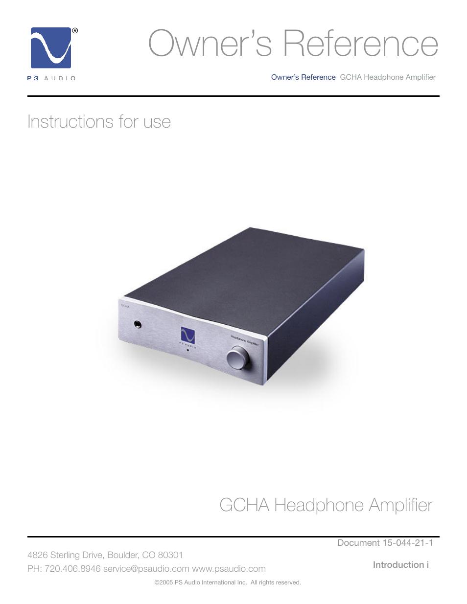ps audio gcha user manual 16 pages rh manualsdir com ps audio sprout owners manual ps audio transport service manual