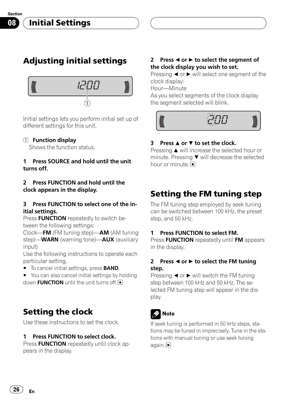 Adjusting Initial Settings  Setting The Clock  Setting The