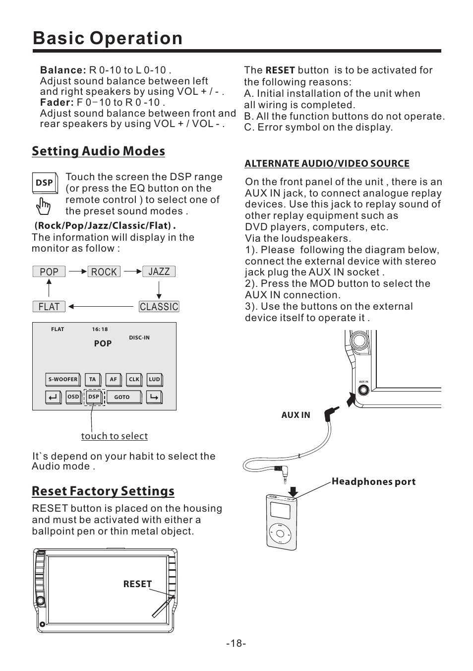 Wiring Diagram For Pyle Pld71mu Diagrams Data Base Radio Basic Operation Setting Audio Modes Reset Factory Settings Rh Manualsdir Com On Weldex