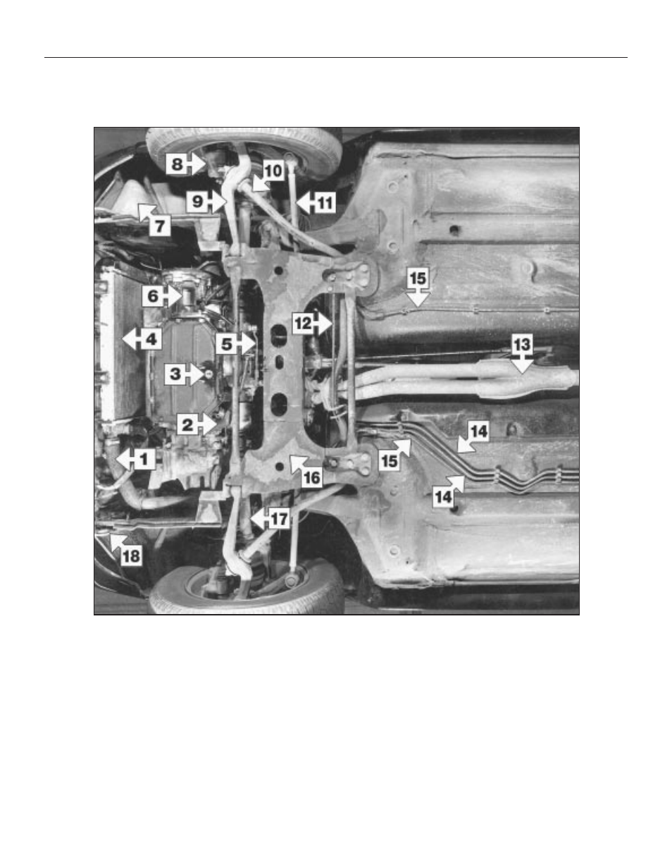 Maintenance Component Location Front Underside View Of A 1360 Cc Peugeot Transmission Diagrams Gt Model 205 User Manual Page 22 249