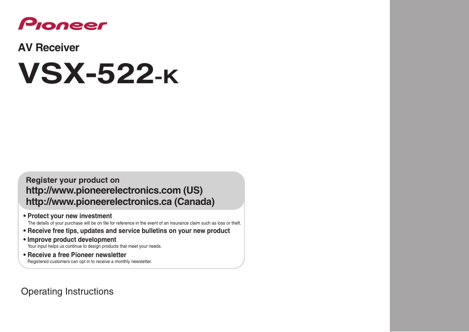 pioneer vsx 522 k user manual 39 pages rh manualsdir com pioneer receiver vsx 522 k manual VSX-522 Remote