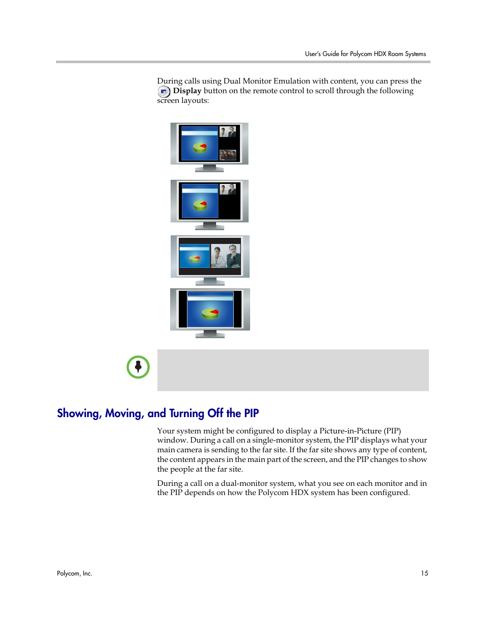 showing moving and turning off the pip polycom hdx user manual rh manualsdir com polycom hdx 7000 manual download polycom hdx 7000 manual download