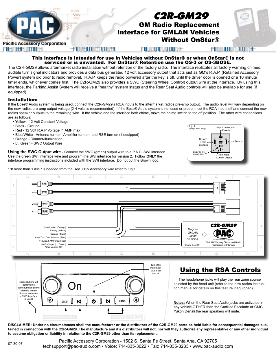 Radio Wiring Diagram Gm Chime Interface Library Axxess Gmos 04 Pac C2r Gm29 User Manual 2 Pages