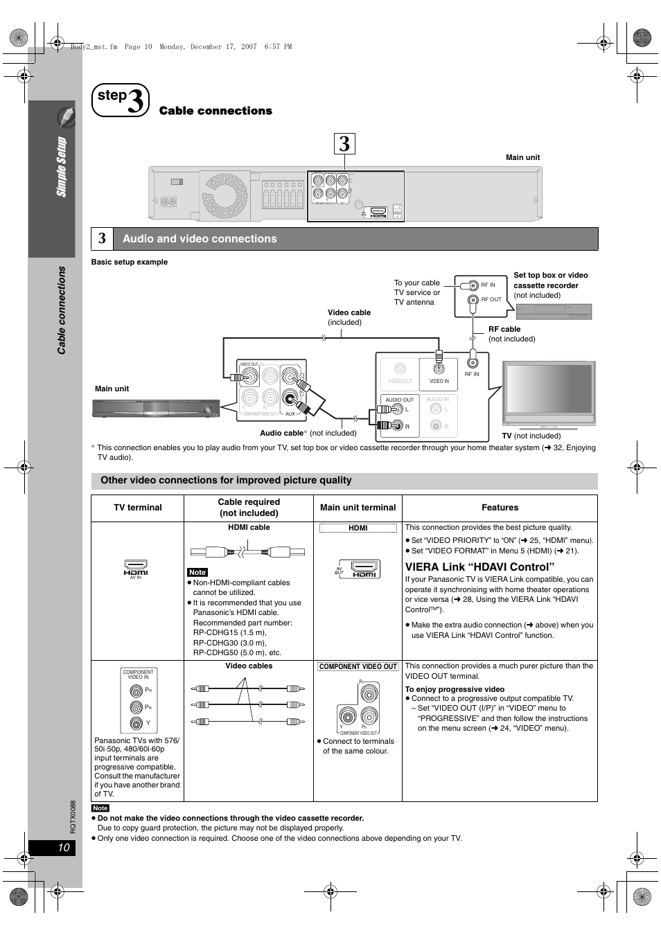 step si mp le s etu p cable connections panasonic sc pt465 user rh manualsdir com Akai 42 Inch Plasma TV Panasonic Plasma TV Schematics