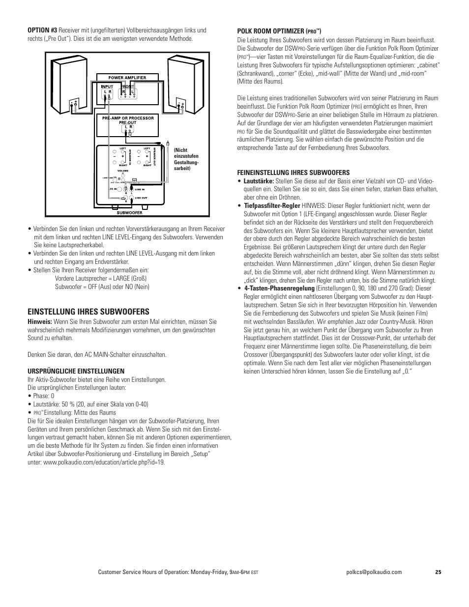 Einstellung ihres subwoofers | Polk Audio DSW PRO 400 User Manual ...