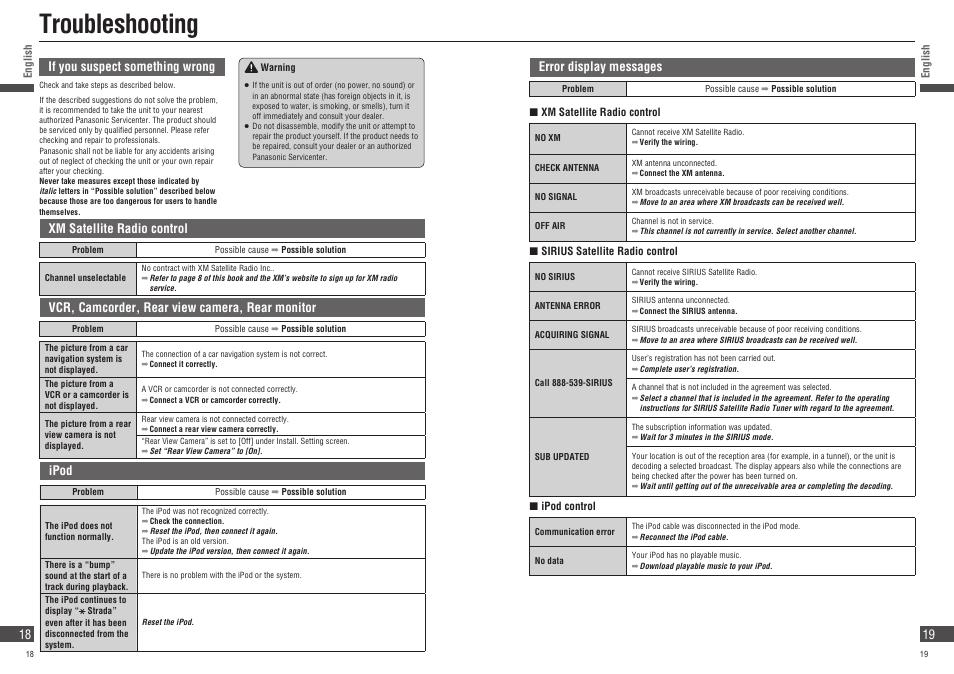 troubleshooting panasonic strada cn nvd905u user manual page 18 rh manualsdir com panasonic owners manual ct-32sx31e panasonic owners manual dmc-zs8