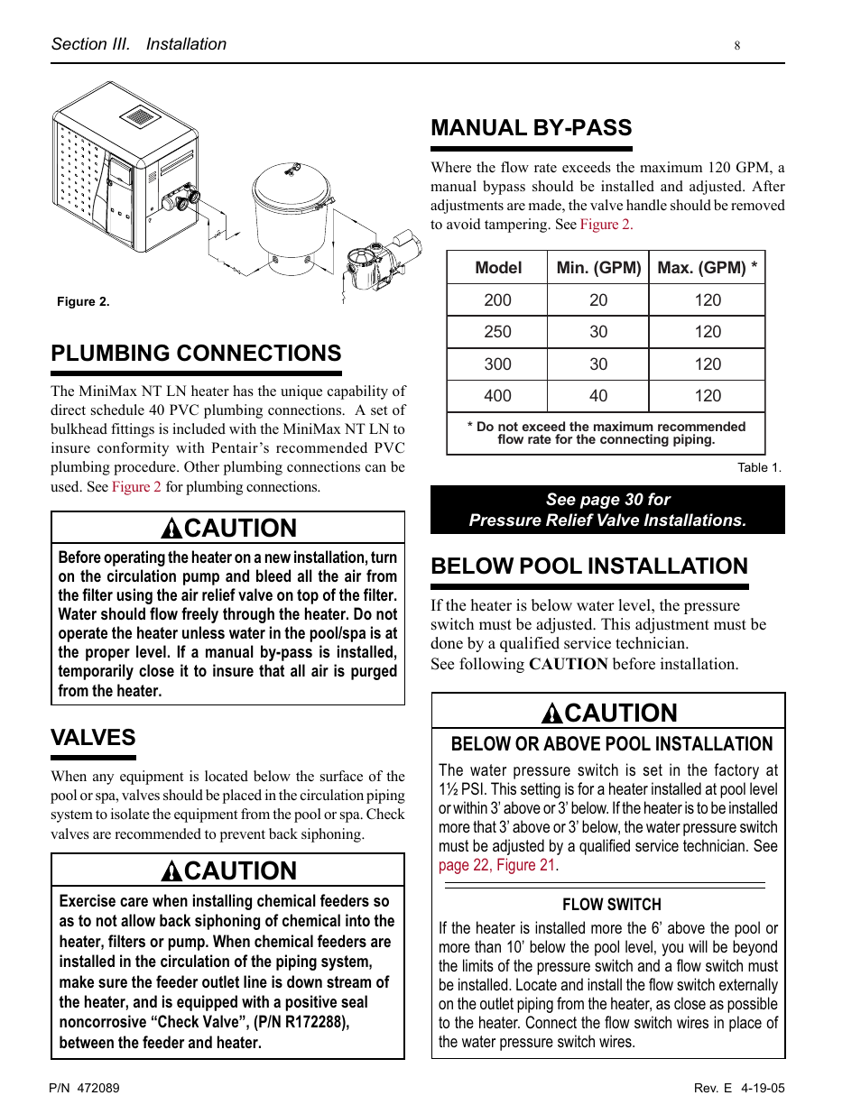 Caution Plumbing Connections Valves Pentair Minimax Nt Ln User Pool Heater Wiring Diagram Manual By Pass Below Installation