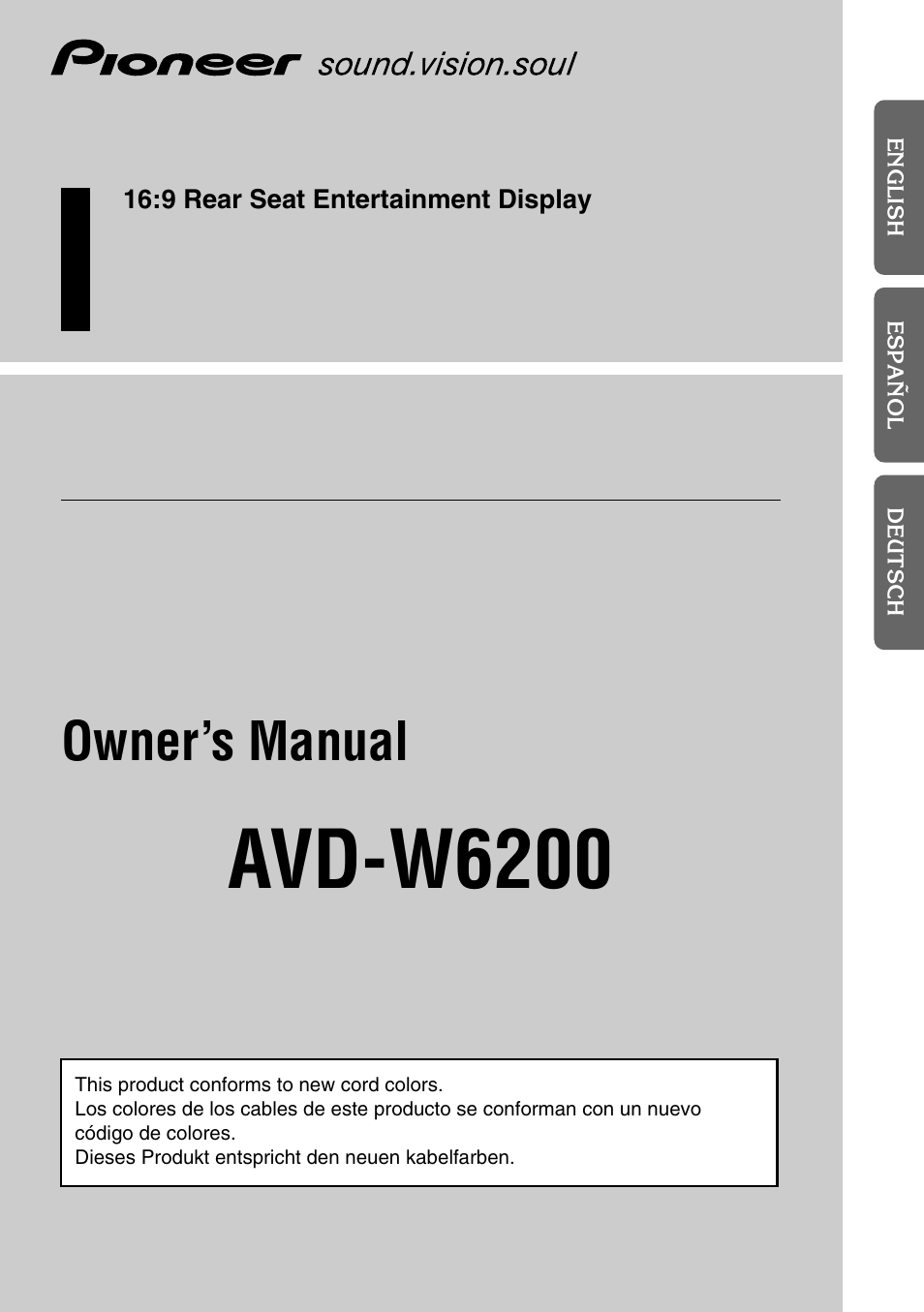 Pioneer AVD-W6200 User Manual | 30 pages
