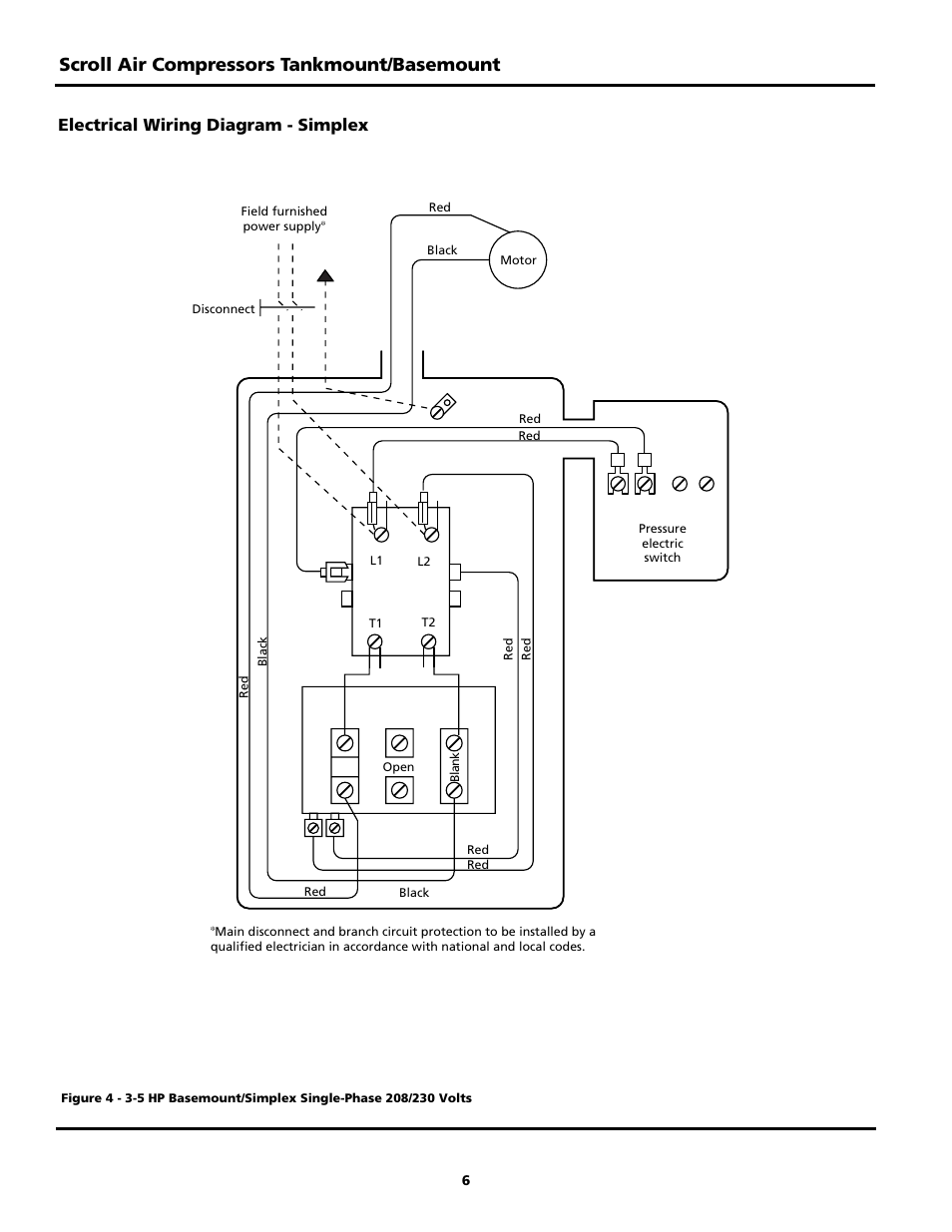 Scroll Air Compressors Tankmount Basemount Electrical Wiring Fig 3 Branch Circuit Individual It Is A Supplies Diagram Simplex Powerex Sbs1517 User Manual Page 6 20